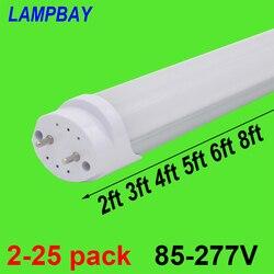 2-25pcs LED Tube Bulb 2ft 3ft 4ft 5ft 6ft Retrofit Fluorescent Light 0.6m 0.9m 1.2m 1.5m 1.8m T8 G13 Bar Lamp 24