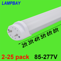2 25pcs LED Tube Bulb 2ft 3ft 4ft 5ft 6ft Retrofit Fluorescent Light 0.6m 0.9m 1.2m 1.5m 1.8m T8 G13 Bar Lamp 2436 48 60 70