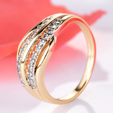Female Wedding Bands Jewelry Gold-Color Engagement Ring for Women CZ Stone