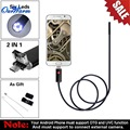 Black/Gold 2 in 1 5.5mm Lens 6 LED Android USB Waterproof Endoscope Camera Borescope Inspection Camera with 2m Length Cable