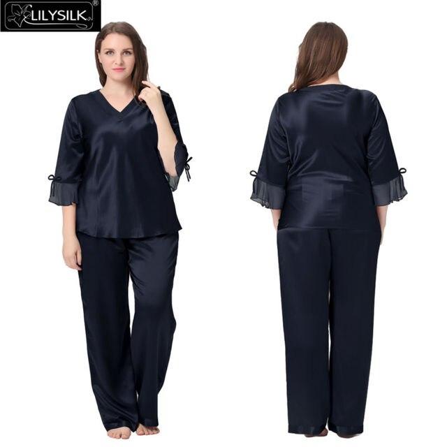 f392b0b2d7221 Lilysilk Silk Pyjamas Women Plus Size 22 Momme Half Sleeve Mesh Cuff V Neck  Luxury Luxury
