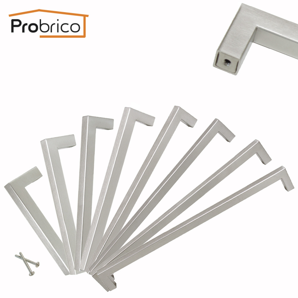 Probrico Square Bar Wardrobe Handles Stainless Steel Cabinet Pull Kitchen Furniture Hardware Door Knob Drawer Cupboard Pulls 4pcs naierdi c serie hinge stainless steel door hydraulic hinges damper buffer soft close for cabinet kitchen furniture hardware