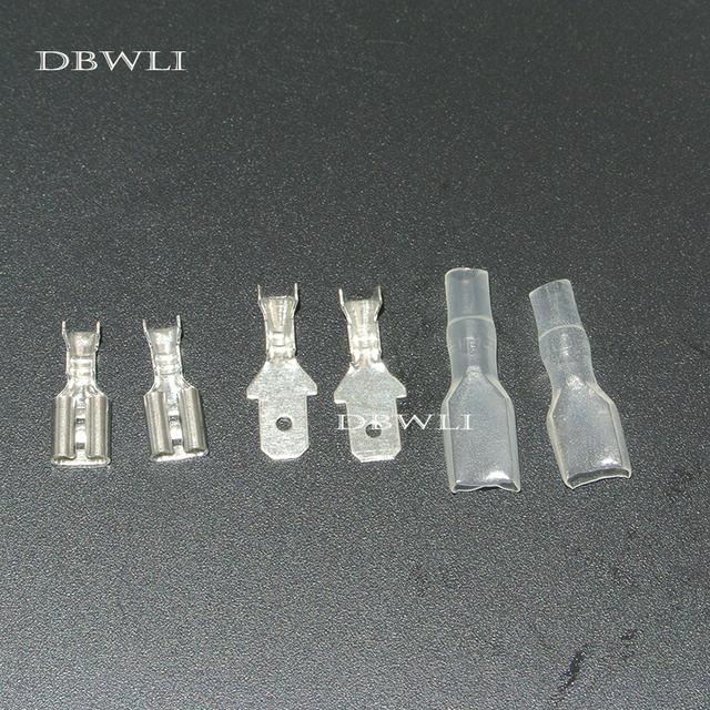 200pcs 4.8mm Crimp Terminal 50pcs Female Spade Connector +50pcs Male Spade Connector+ 100pcs Case
