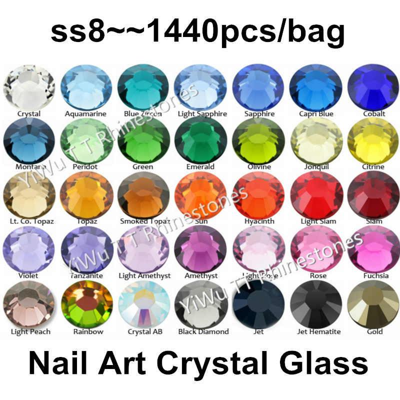 Venta al por mayor 1440 piezas SS8 (2,3-2,4mm) pegamento trasero plano de varios colores en diamantes de imitación no Hotfix 3D decoración de uñas brillo strass