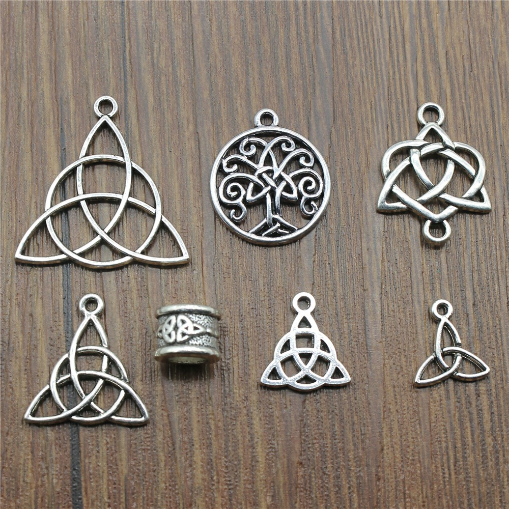 Triquetra Symbol Pendants Charm Bracelet Jewelry-Making Silver-Color Mix