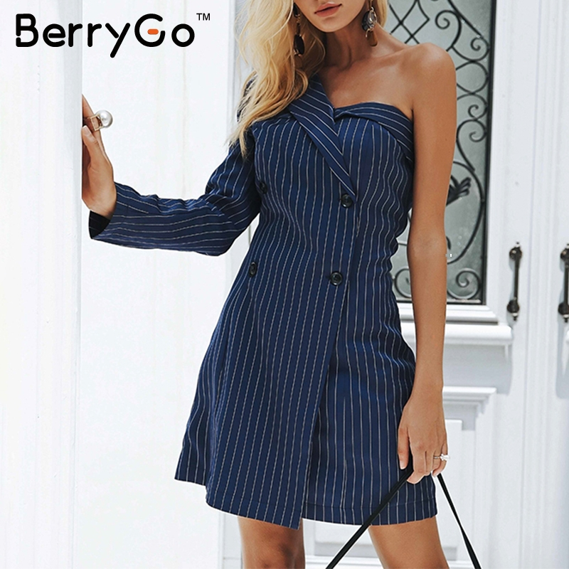 BerryGo One shoulder striped blazer sexy dress 2018 Winter office lady dress Women double breast work casual short dress autumn