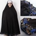 Горячие продажи Черный Паранджу Никаб плащ печати embroid цветок исламская одежда хиджаб с Бисером для женщин оптовая Бесплатная доставка, H21