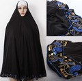 Hot sale Black Niqab Burqa cloak print embroid flower islamic clothing hijab with Beads for women wholesale Free shipping,H21