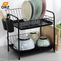 ORZ Dish Rack Set 2 Tier Chrome Kitchen Organizer Tools Plate Spoon Storage Frame Steel Drain Bowl Rack Kitchen Dish Shelf