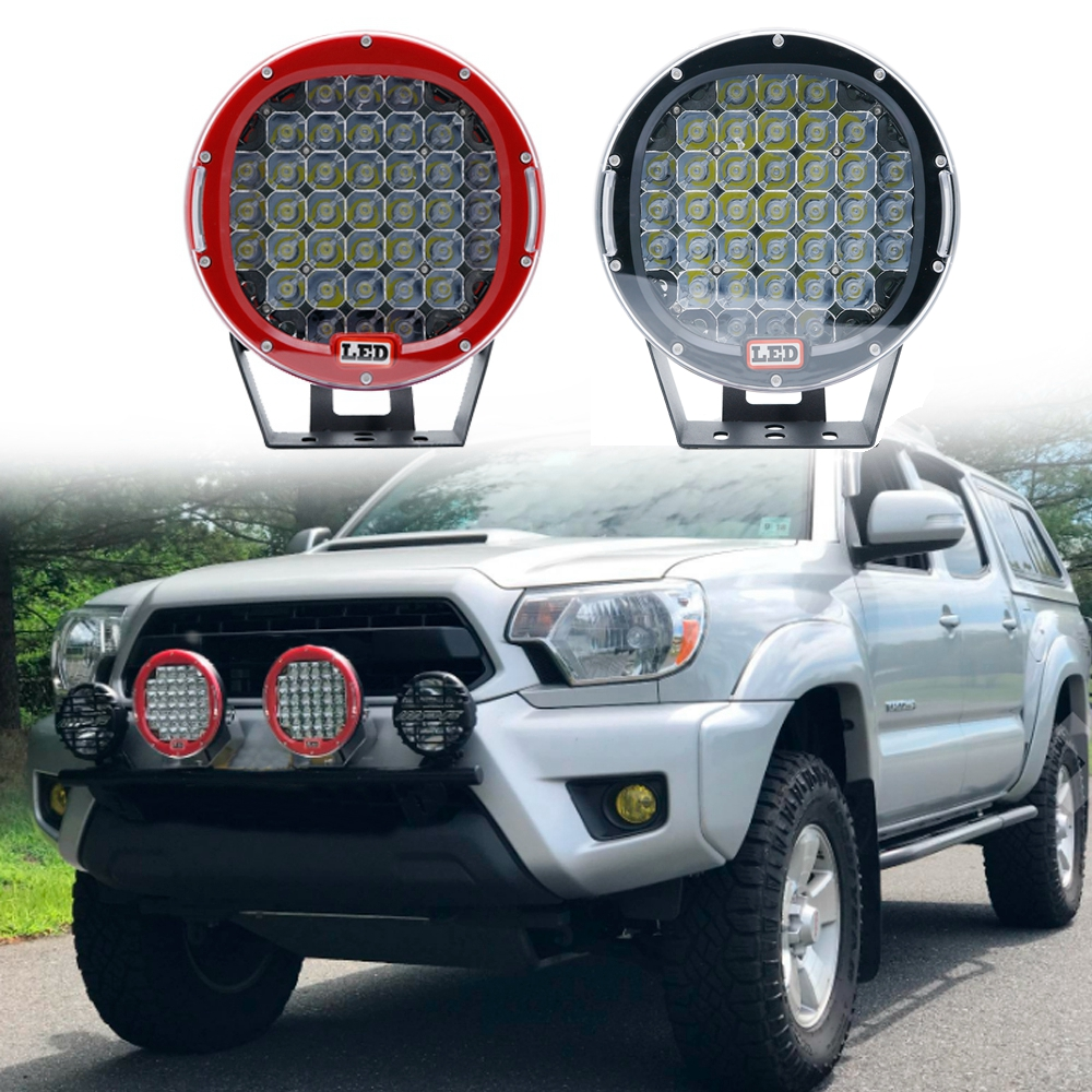 Led Work Light Bar 9185w 17000LM Black Red Round Spot Light Pod Off Road Fog Driving Roof Bar Bumper for Jeep, 4x4 SUV Truck гарнитура qcyber roof black red звук 7 1 2 2m usb