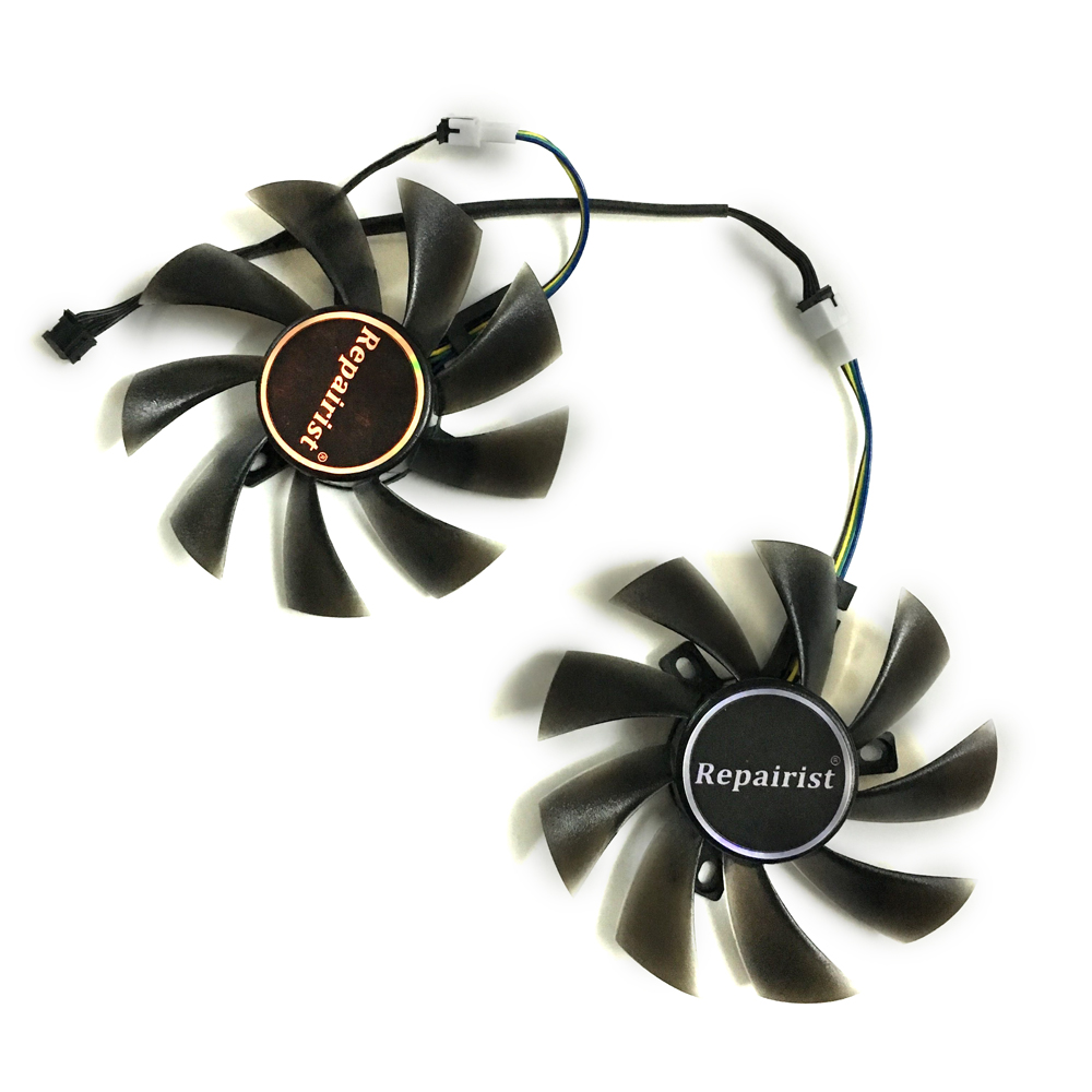 2pcs/lot GPU RX580 RX480 ARMOR VGA cooler Video Card cooling fan For Radeon RX 480 MSI RX 580 ARMOR Graphics Card Cooling system computer radiator cooler of vga graphics card with cooling fan heatsink for evga gt440 430 gt620 gt630 video card cooling