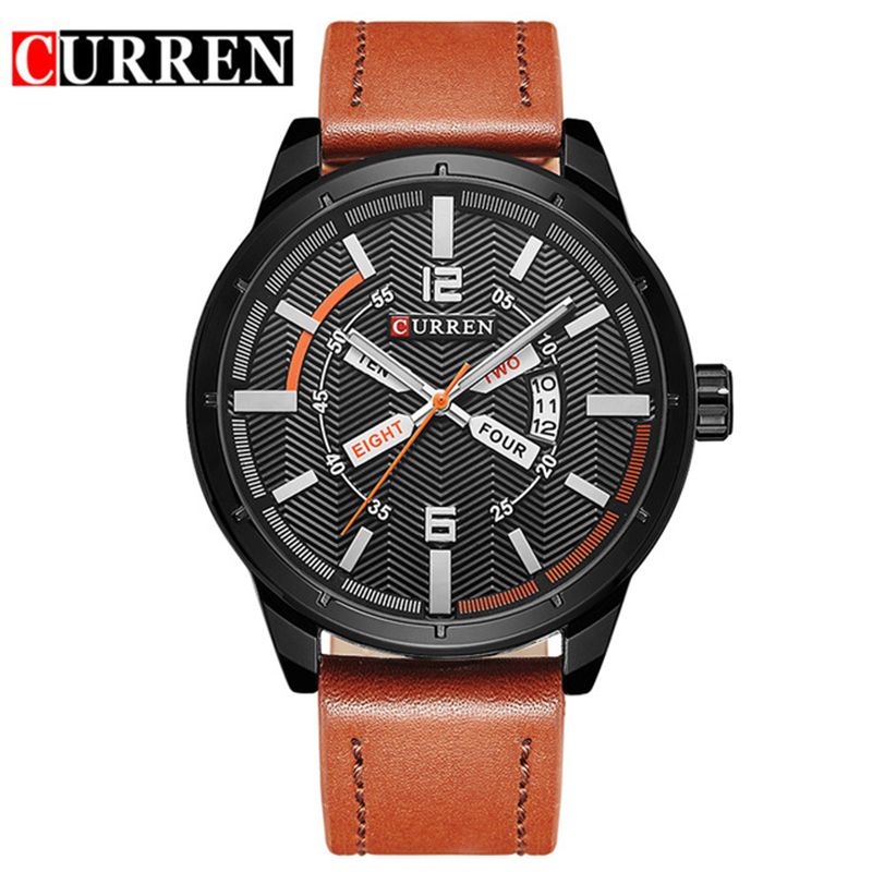 CURREN Men Watch Top Brand Luxury Sport Mens Watches Auto Date Military Army Business Leather Band Wrist Quartz Male Clock 8211 curren top brand luxury mens watch men watches male casual quartz wristwatch leather military waterproof clocks sport clock 8225