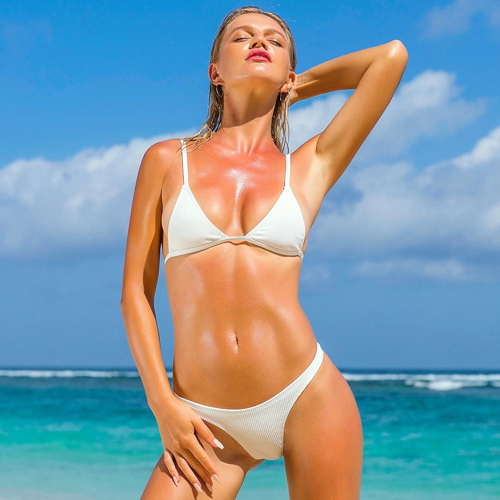 Solid Sexy Bikini brasileño 2019 Conjunto de bikini de tanga de cintura baja Push Up Acolchado Mirco Bikinis Mujeres Traje de baño Traje de baño Mujeres