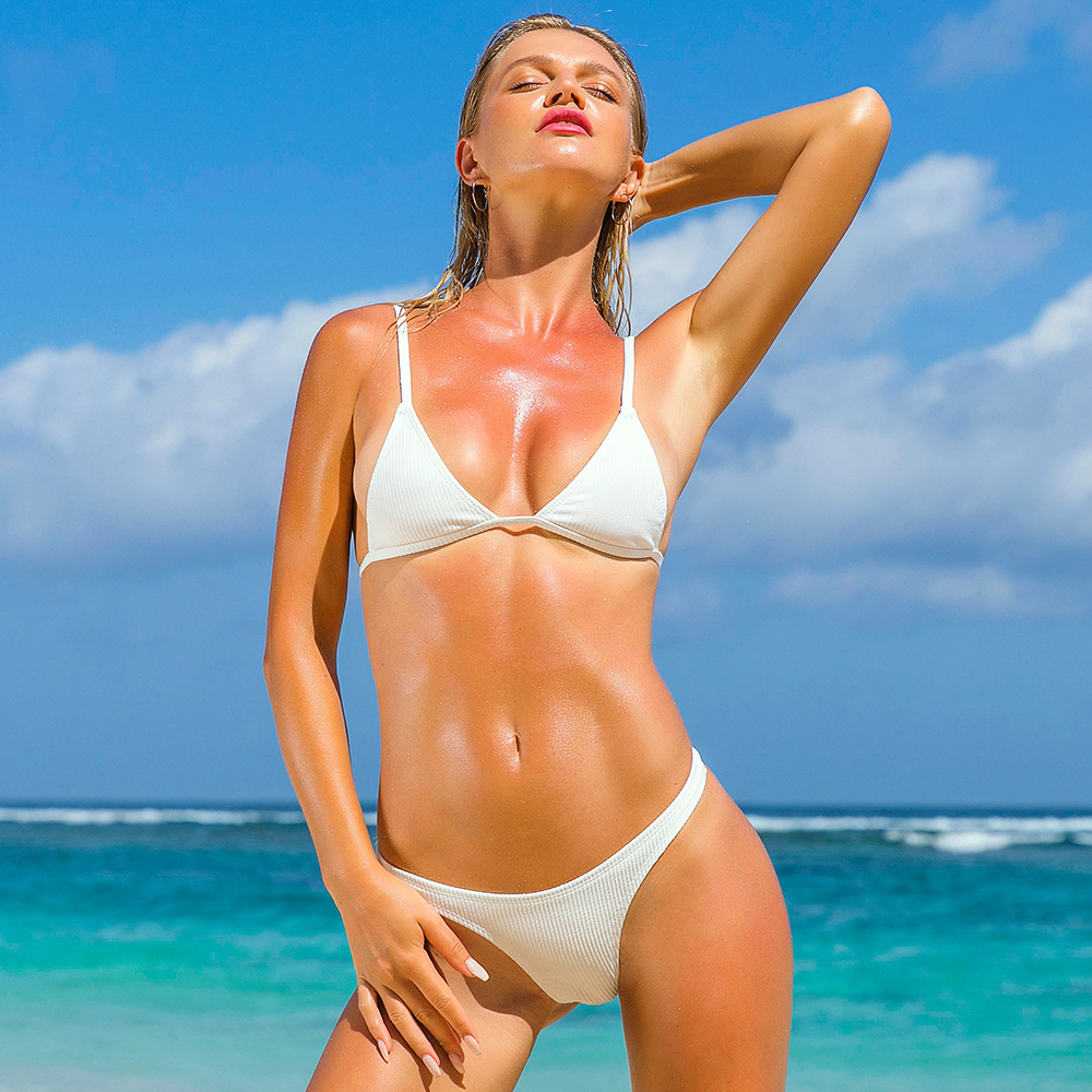 Solid Sexig Brasilian Bikini 2019 Låg Midja Thong Bikini Set Push Up Vadderad Mirco Bikinis Kvinnor Baddräkt Baddräkt Kvinnor