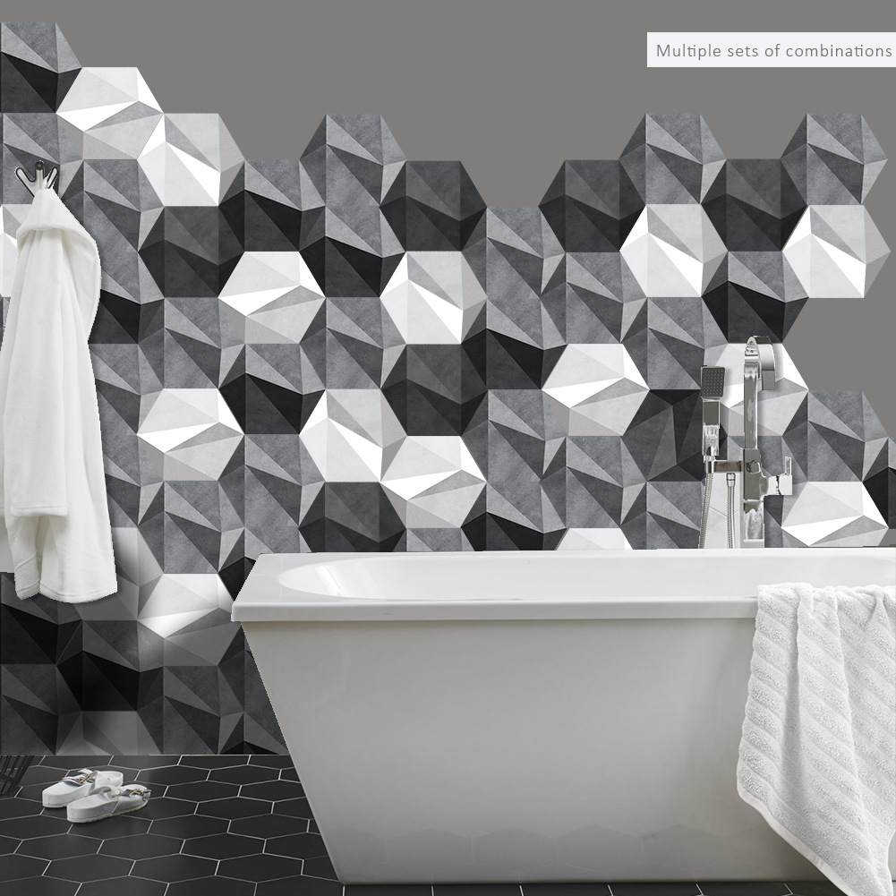 3d Floor Stickers Black White Gray Diy Anti-slip Self-adhesive Pvc Waterproof Wall Sticker For Hotel Bathroom Kitchen