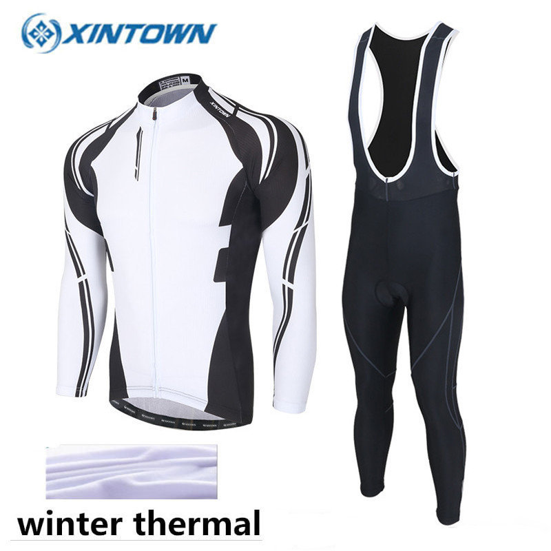 XINTOWN Winter Cycling Clothing Thermal Fleece Pro Team Cycling Jersey long MTB Ropa Ciclismo Men Bike Cycling Clothes Black black thermal fleece cycling clothing winter fleece long adequate quality cycling jersey bicycle clothing cc5081