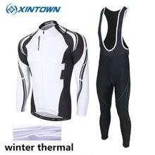 XINTOWN Winter Cycling Clothing Thermal Fleece Pro Team Cycling Jersey long MTB Ropa Ciclismo Men Bike Cycling Clothes Black