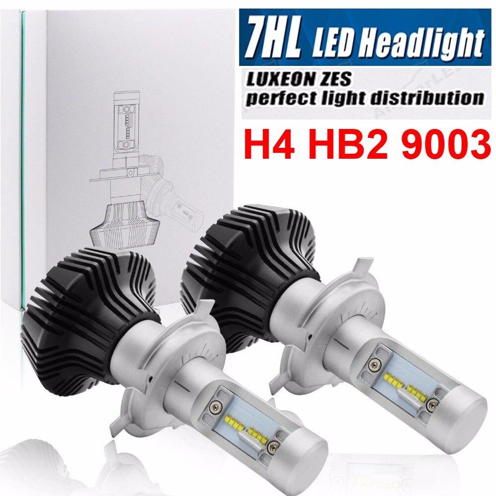 1 Set H4 9003 50 W 8000LM ZES puces LED G7 phare LED H1 H7 H8 H9 H11 9005/6 9012 H13 9007 PS X 24 W 880 Fanless Ampoules Lampe 6500 K