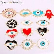 30 pièces, mélange aléatoire, perles de connecteur en émail, forme ronde/étoile/lèvre/main/oeil, perles pour les yeux en émail, perles pour connecteurs, fournitures de travaux manuels