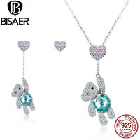 BISAER 925 Sterling Silver Jewelry Sets Girls Little Bear Jewelry Set Pink Heart Collar Sterling Silver 925 Jewelry Girls Gift