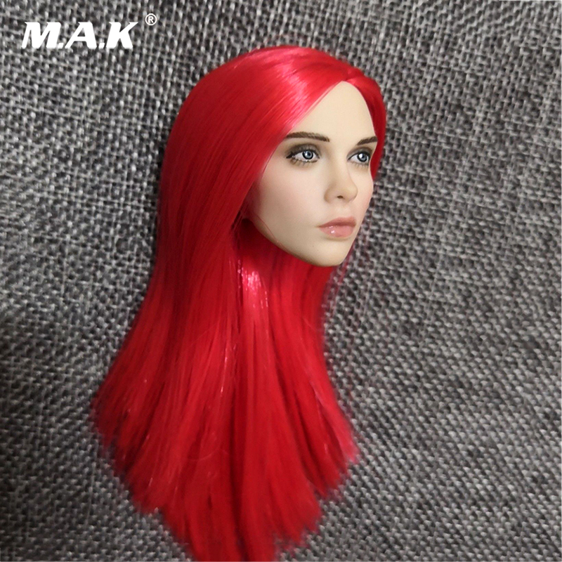 1:6 red Long Hair Europe beauty Jaina Lee Ortiz 1/6 Scale Villa Head Sculpt Carving Fit 12 Phicen Female Figure Body Toys