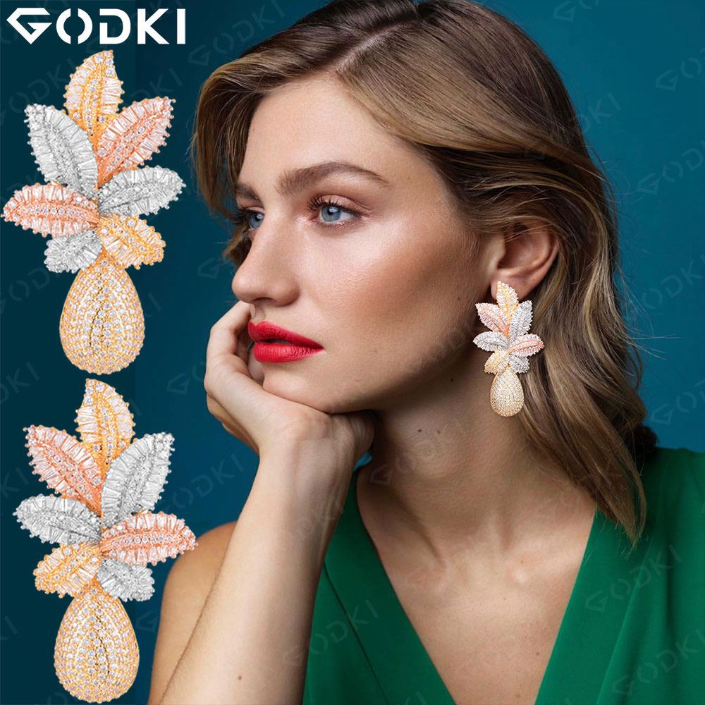 GODKI 68mm Luxury Leaf Drop Flower Full Micro Cubic Zirconia Paved Naija Wedding Party Earring Fashion Jewelry for Women