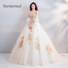 Gardenwed Luxury Off Shoulder Golden Lace Ball Gown Wedding Dresses With Sleeves Beading 2019 Bridal Gowns Vestido De Noiva