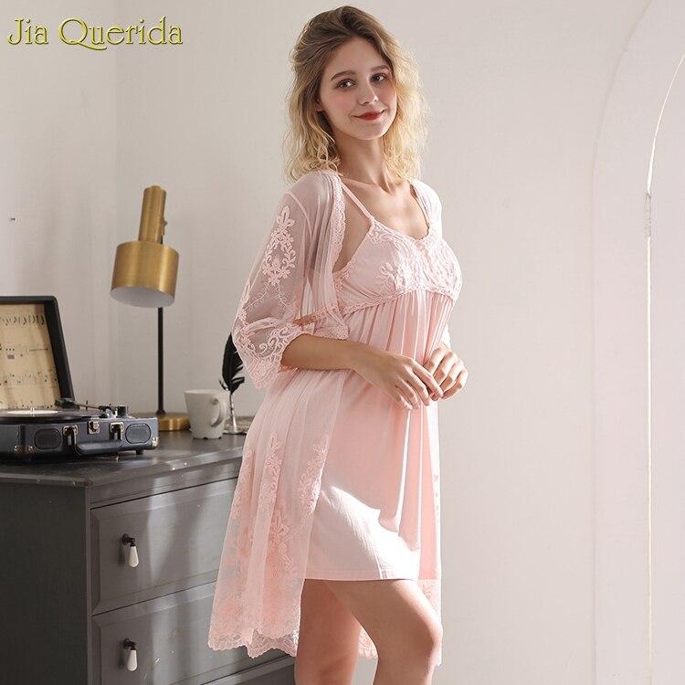 Robe Lingerie Set Women Vintage French Style Pink Night Gown Robe Set Lace Jacquard Elegant Lounge