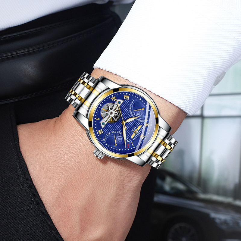 HAIQIN Top Brand Men Watches Automatic Mechanical Watch Tourbillon Sport Clock Men Wristwatch Waterproof 30M Relojes Hombre+BoxHAIQIN Top Brand Men Watches Automatic Mechanical Watch Tourbillon Sport Clock Men Wristwatch Waterproof 30M Relojes Hombre+Box