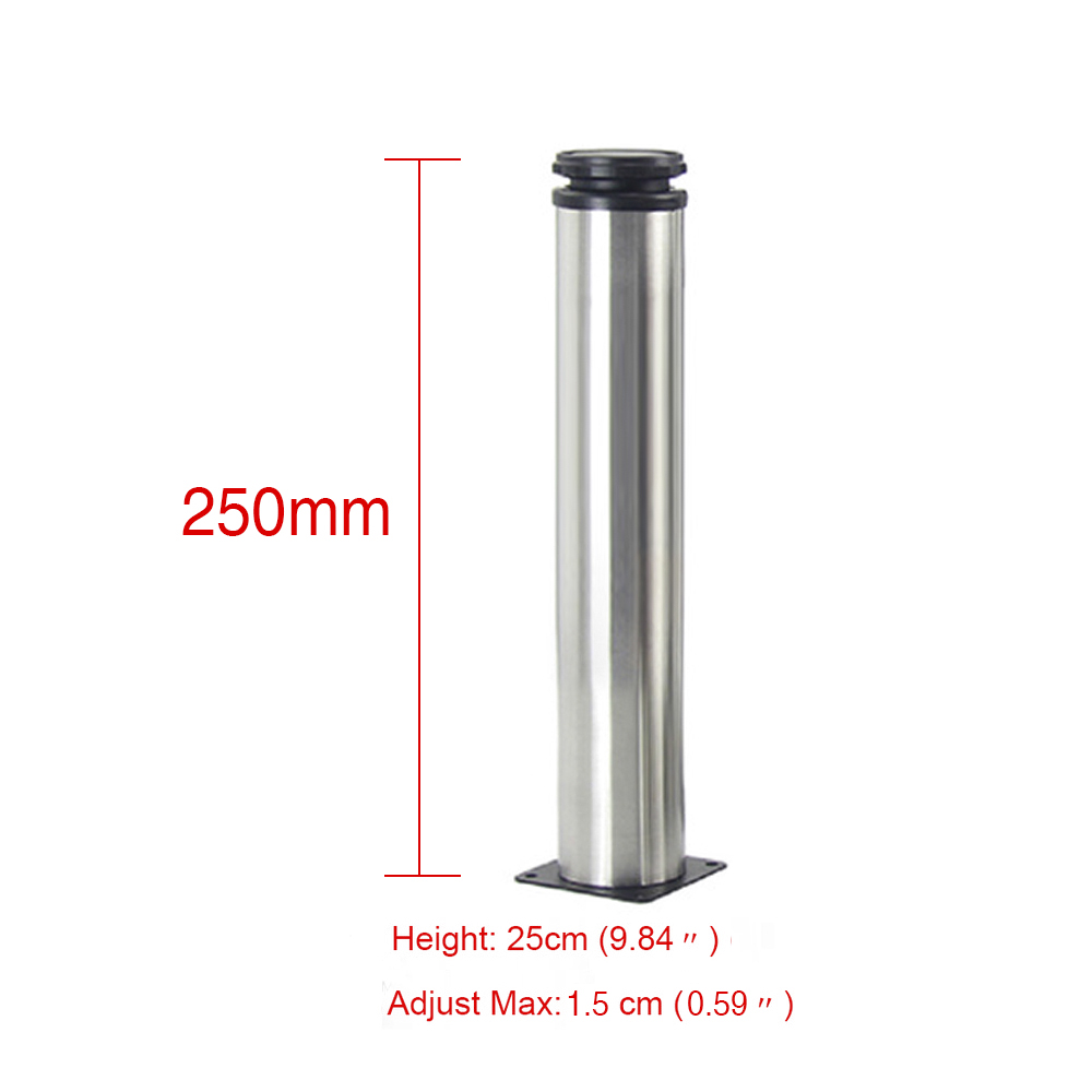 25CM Adjustable Stainless Steel Furniture Legs Cabinet Table Sofa Bed Feet Furniture Legs Feet 4pcs 150mm height furniture legs adjustable 10 15mm cabinet feet silver tone stainless steel leveling feet for table bed sofa