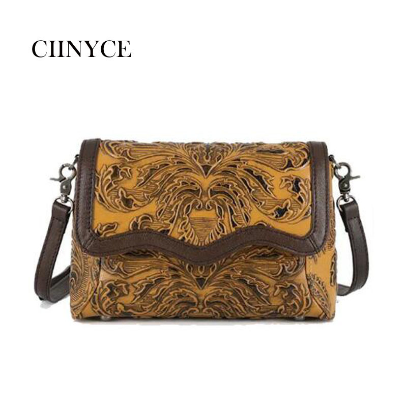 High quality Chinese element Genuine leather women fashion Vintage handbags retro Floral casual lady Cross body Messenger Bags