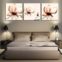 Unframed 3 Sets Wall Painting Lotus Flower Home Decorative Cheap Art Picture Paint On Canvas Prints