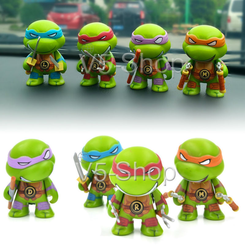 4pcs car vehicle universal ornament 7cm 2 8 teenage mutant ninja turtles tmnt dashboard action figure decor sticker in ornaments from automobiles