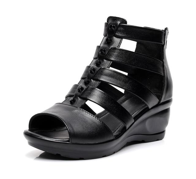 Mode frauen sommer sandalen schwarz schuhe keile high heels sandalen casual schuhe-in Damenpumps aus Schuhe bei  Gruppe 1
