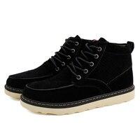 Kış Sıcak erkek Rahat Ayakkabılar İngiliz Moda Akın erkek Bilek Flats Boots Sonbahar Dantel-Up Katı Tüm Maç erkek Deri Çizmeler