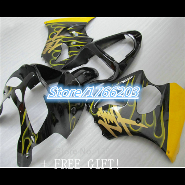fairings kit For ZX6R 00-02 ZX-6R <font><b>2000</b></font>-2002 636 00 02 ZX6R <font><b>2000</b></font> 2001 2002 ZX6R 00 01 02 yellow flame black fairing image