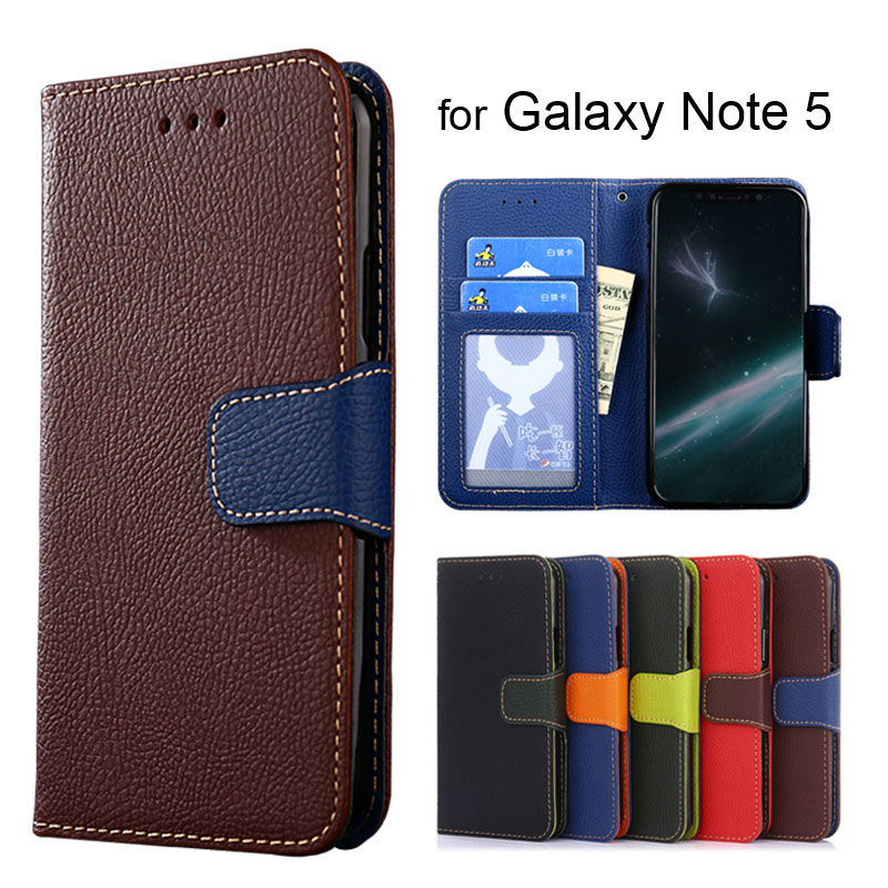 Wallet case for Samsung Galaxy Note 5 Litchi Pattern PU leather with soft TPU cover coque Hit color style
