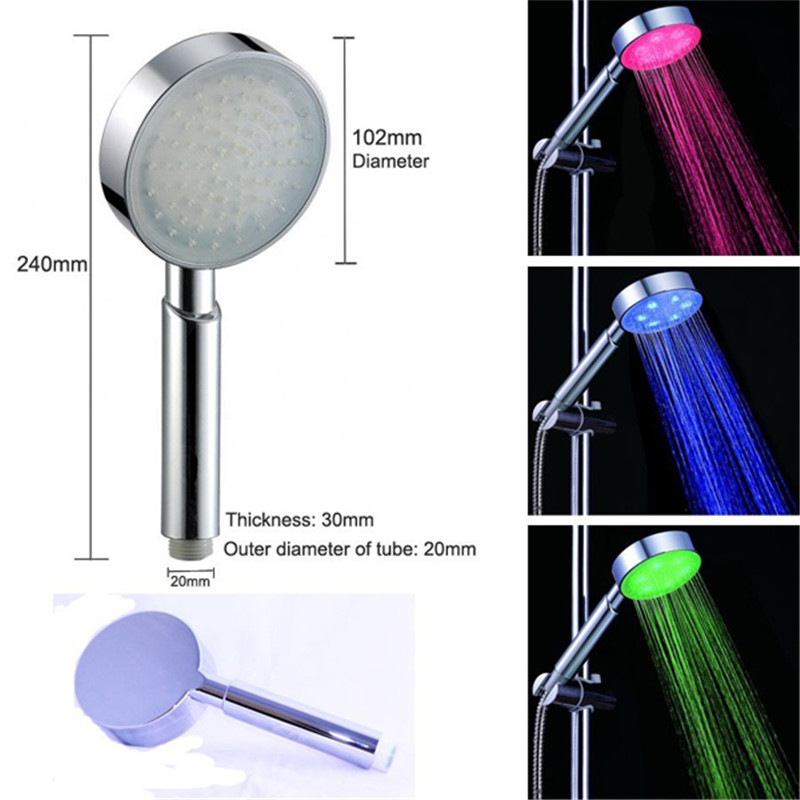 Shower Equipment Cooperative Led Shower Head Color Changing Shower Head No Battery Bathroom Accessories Round Bathroom Showerhead Freeship Shower Heads