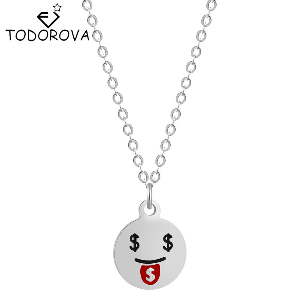 Todorova 10pcs New Arrival Steampunk Emoji Cute Cartoon Dollar Face Necklace Women Sexy Statement Jewerly Hip Hop Christmas Gift