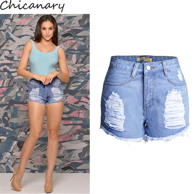 Chicanary Perna Rasgado Mulheres Denim Shorts De Alta Aumento Borlas Hem Shorts Jeans Plus Size