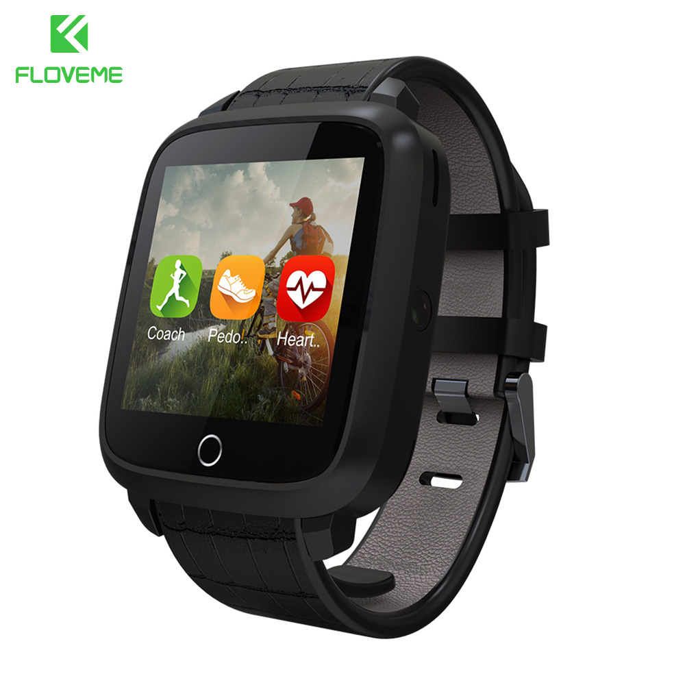 FLOVEME Fashion Smart Watch Android 5.1 OS Bluetooth Bracelet Leather Band Wristwatch GPS Position Heart Rate Monitor Watches