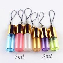 50 pçs/lote colorido 3ml 5ml vidro perfume rolo na garrafa com bola de aço inoxidável e chave corrente rolo garrafa de óleo essencial