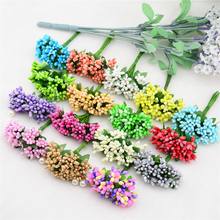 12PCS lot Mulberry party Artificial Flower Stamen wire stem marriage leaves stamen DIY wreath font b