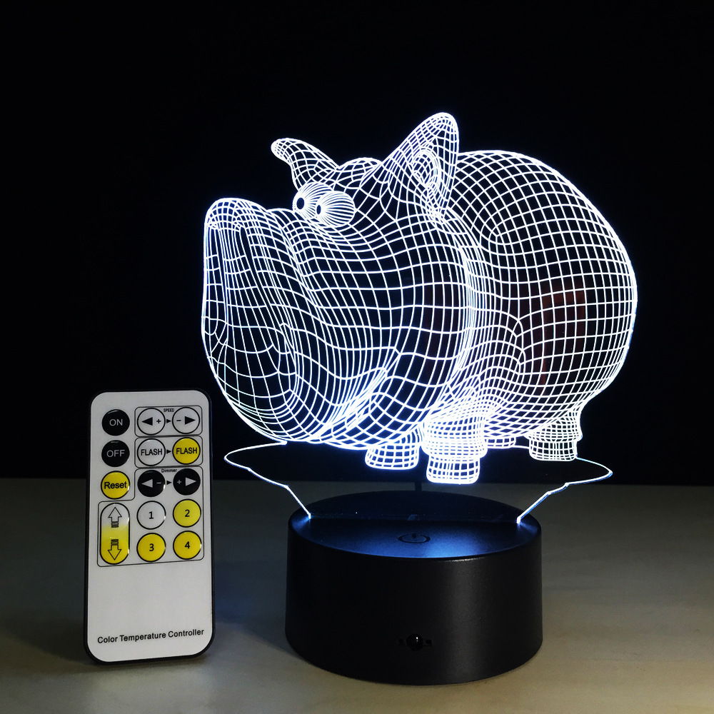 7 Colors Pig 3D LED Night Light 5V USB Creative Acrylic Table Lamp Children Friends Party Decor Gift Remote Or Touch Control