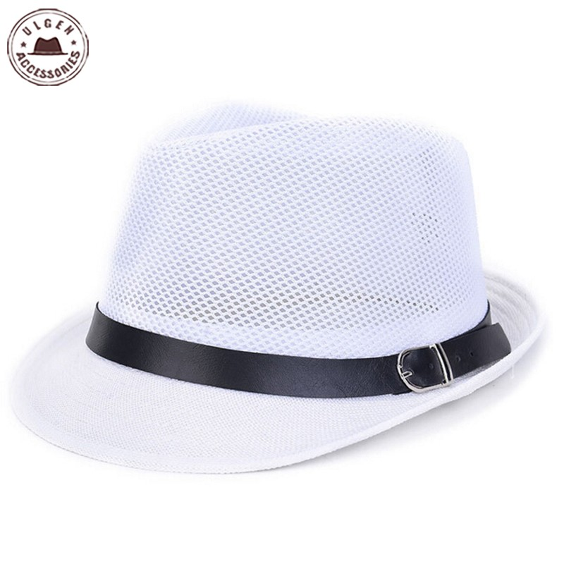 447d1e75d1b53e New Summer men's straw fedora hat gentlemen white fedoras black Jazz hats  straw panama mesh caps