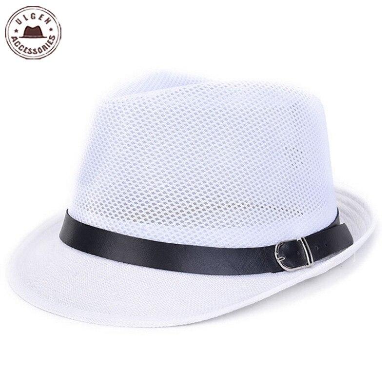 Online Shop 2016 New Summer men s straw fedora hat gentlemen white fedoras  black Jazz hats straw panama mesh caps men  af89bf7ea6f
