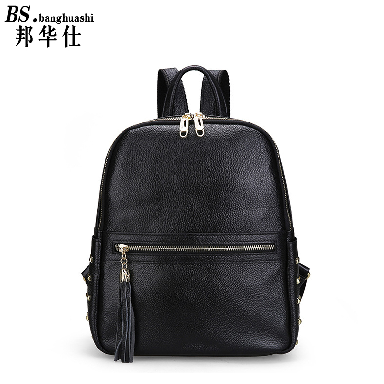 ФОТО Leather Shoulder bag Chaobao Lady Backpack Leather Rivets Travel Bags Casual Large - Capacity Women 's bag