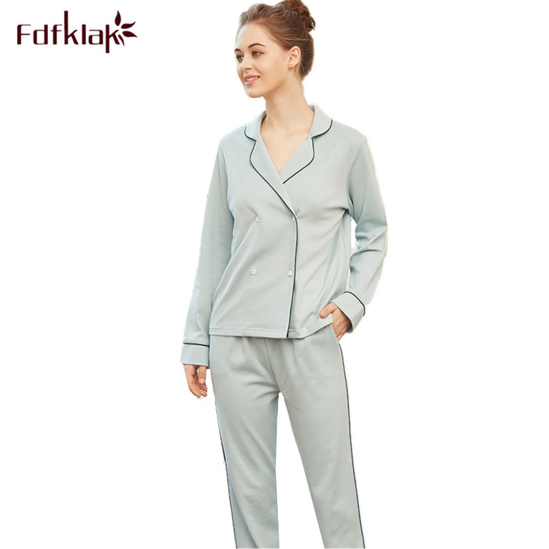 Fdfklak High quality women pajamas set long sleeve cotton sleeepwear pijama ladies home clothes lounge nightwear pyjamas suit