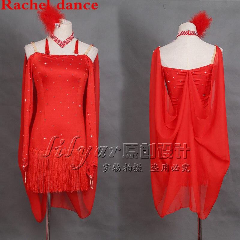 Latin Dance Dress Women Girls Harness Style Long Sleeves Tassel Salsa Samba Tango Ballroom Competition Costume Lady Dance Top
