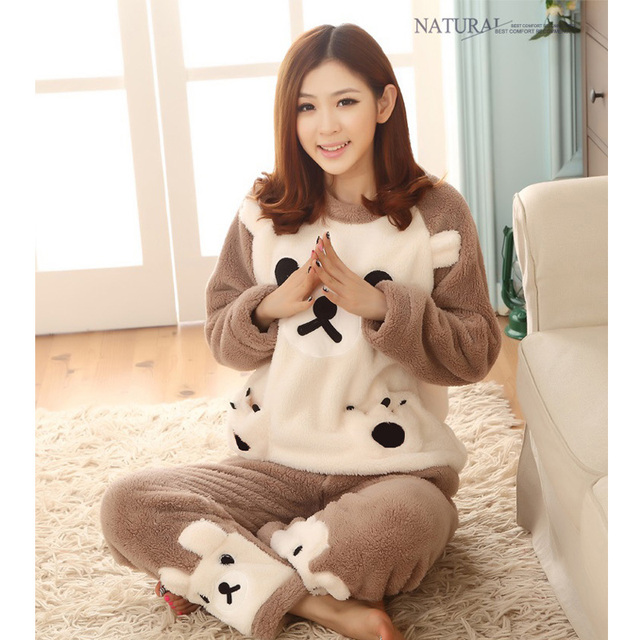 Autumn and winter flannel pajamas thickening women flannel pajama sets  sleepwear female girl coral fleece pajamas lovely bear 608eca1b3